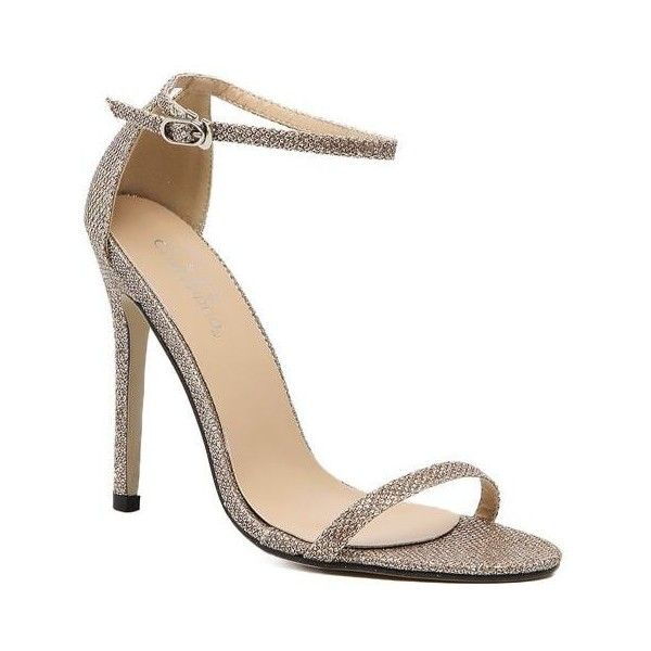 Golden 36 The Rubber Sole of The Lady Has A High Heel and Sandals ($22) ❤ liked on Polyvore featuring shoes, sandals, rubber sole shoes, golden sandals, high heeled footwear, high heel shoes and golden shoes