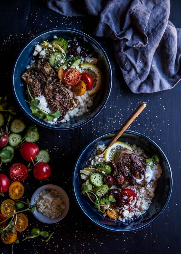 Grilled Lamb Souvlaki Bowls