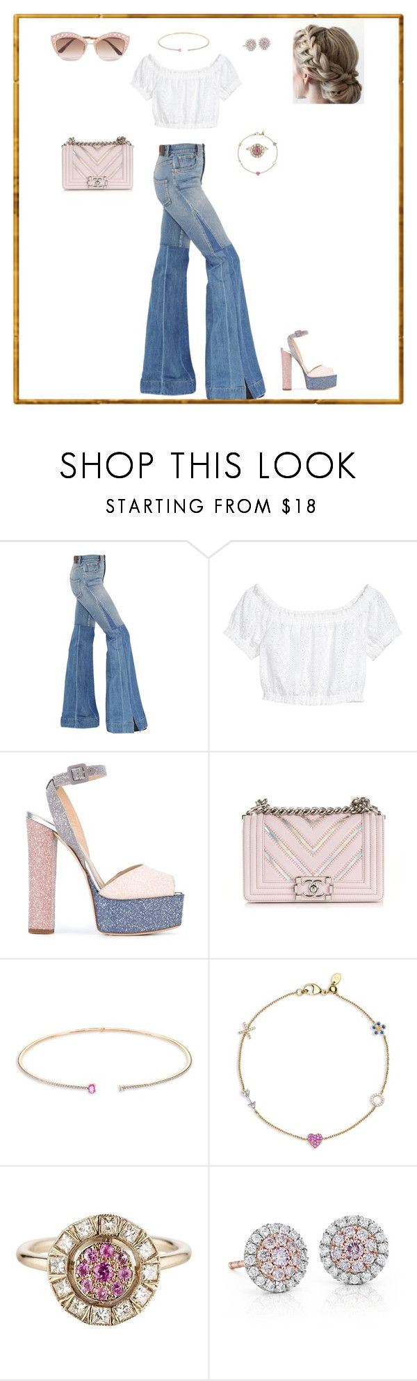 """Untitled #51"" by sb187 ❤ liked on Polyvore featuring Roberto Cavalli, Giuseppe Zanotti, Chanel, Hueb, Loquet, Sabine Getty, Blue Nile and Gucci"