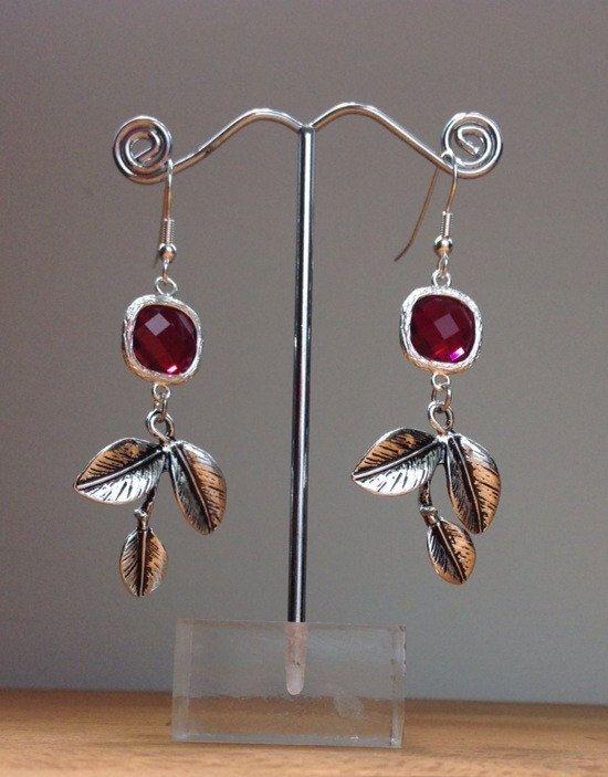Dark red crystal and tree branch earrings by PetalJewels on Etsy