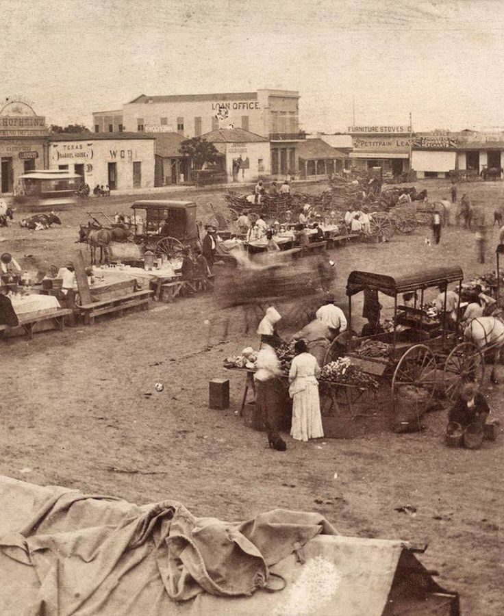 1880's - Chili stands in downtown San Antonio plaza. Must have been a time lapse photo, notice the blurry horse and wagon in the center.