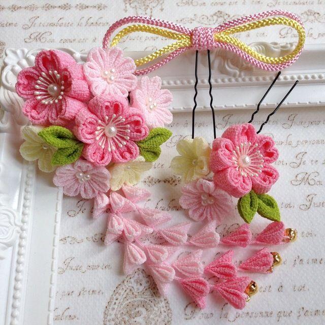 つまみ細工✼桜の髪飾りセットஐ ピンク