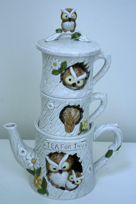 Enesco Owl tea set