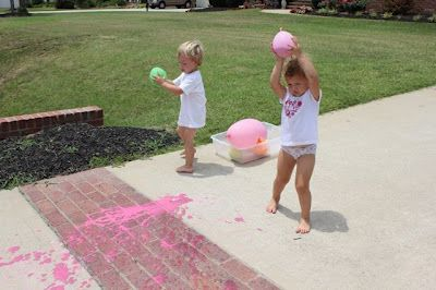 """paint"" balloon war using water, cornstarch and food coloring! so much cheaper than buying bottles of actual paint!"