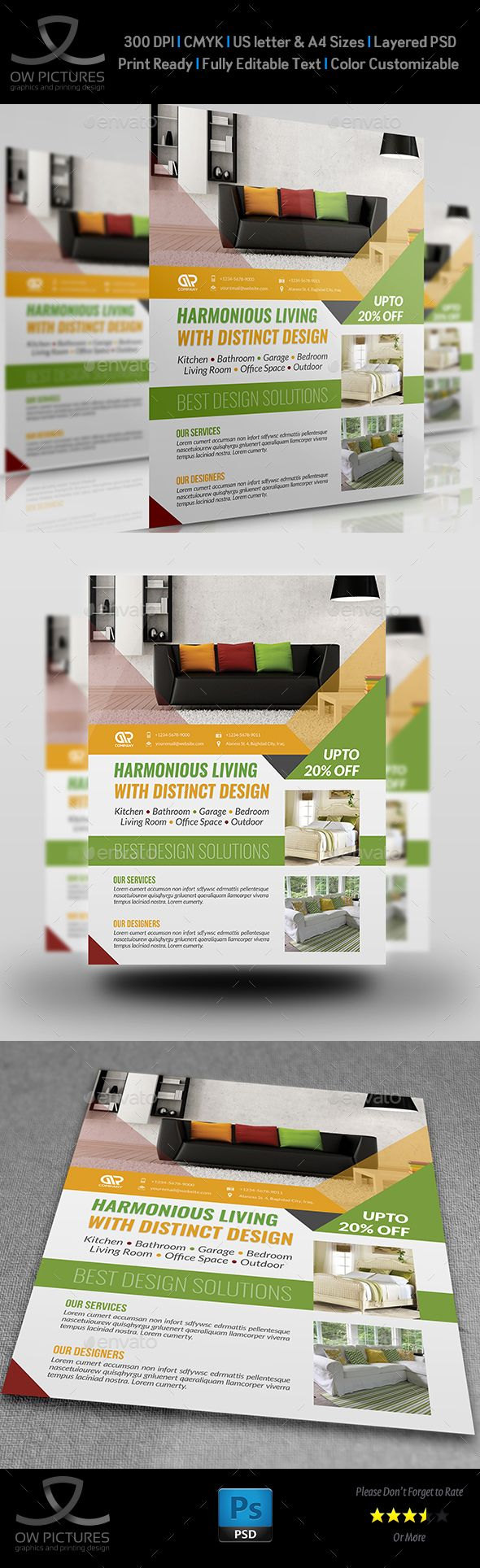 images about service flyer templates interior design flyer template psd template template rent green interior