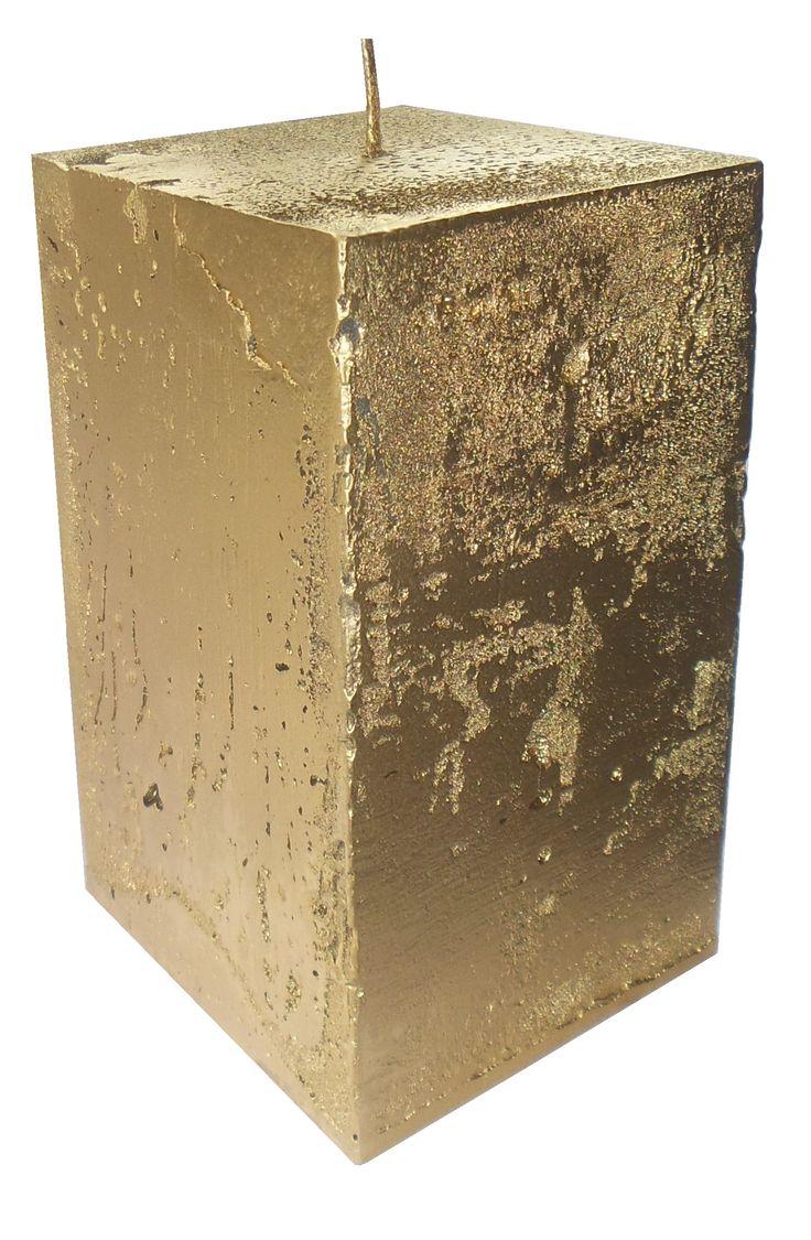 Свеча блок золотой, Gold candle