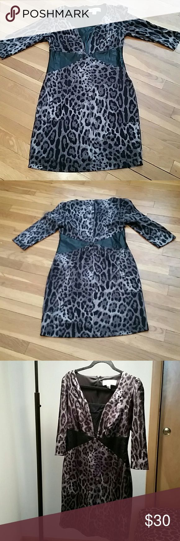 Animal print Faux leather Dress Animal print mid sleeved dress faux leather at waist and bust line dress is fully lined with built-in slip dress is zippered andthe print is charcoal gray and black and Dress has never been worn COLLEEN LOPAZ  COLLECTION Dresses