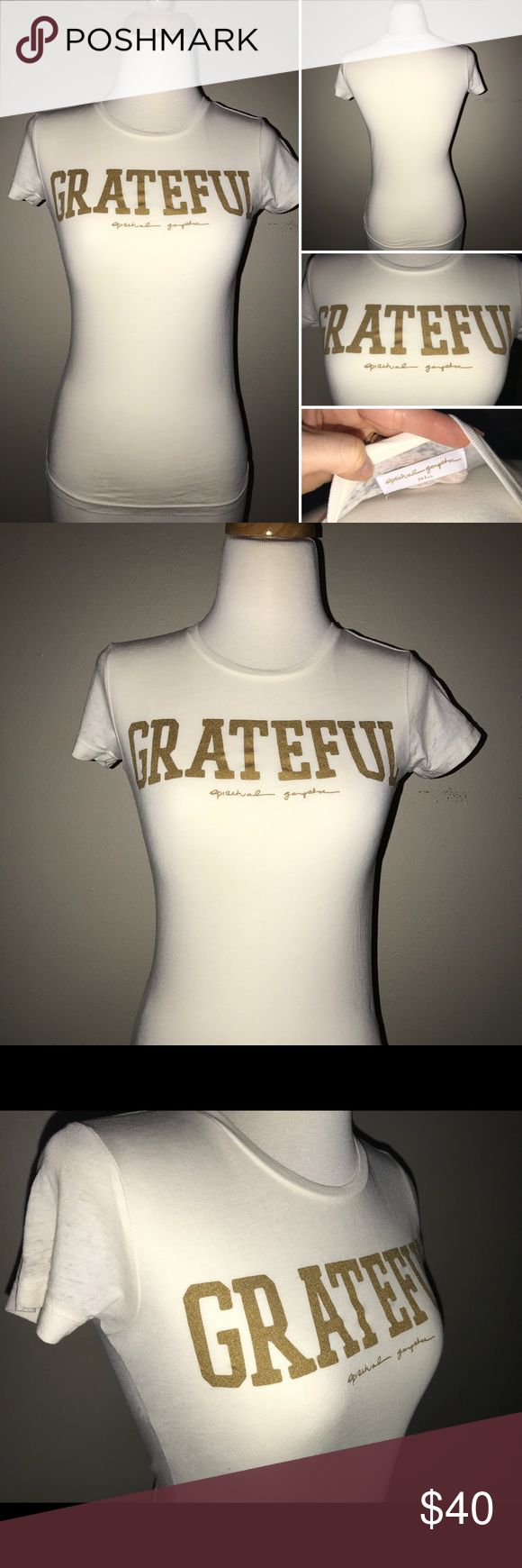 Spiritual Gangster Grateful Burnout Tee Shirt NWOT. This tee is the usual SUPER soft fabric from Spiritual Gangster. I absolutely love it, but it is a tad too small for me. Beautiful cream color with light distressing (burnout style). Never worn. Spiritual Gangster Tops Tees - Short Sleeve