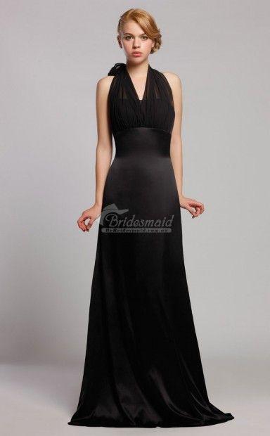Formal Affordable A Line Satin And Chiffon Sweep Train Bridesmaid Dresses