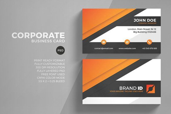 Corporate Business Card Template Business Card Graphic Company Business Cards Customizable Business Cards