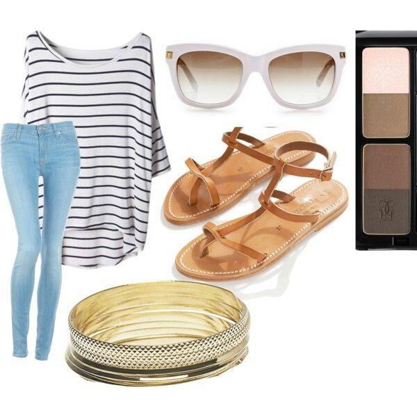 Summer simple sets T-Shirt Jeans Gladiator sandal Bracelets Sunglasses Nude eyepalette