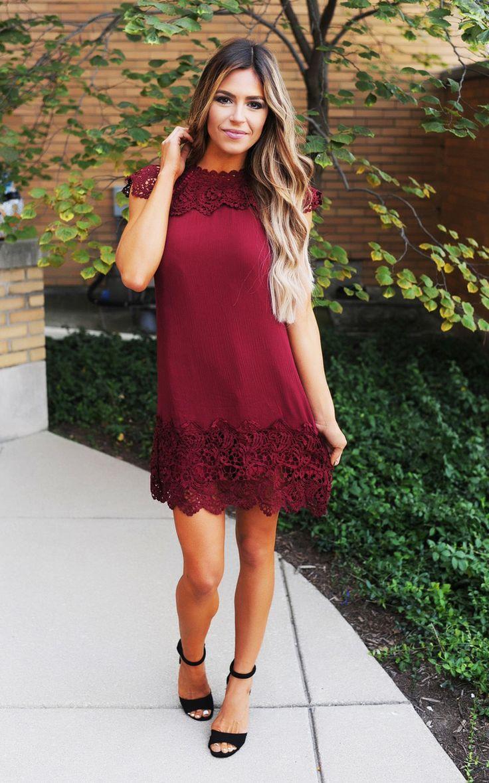 Burgundy Crochet Detail Dress - Dottie Couture Boutique