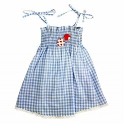 Oobi   Celeste dress - blue gingham  The quintessential Oobi Celeste ruche dress has had a makeover! This ever popular little frock is simply perfect for those balmy summer days - sweet, practical and girly.