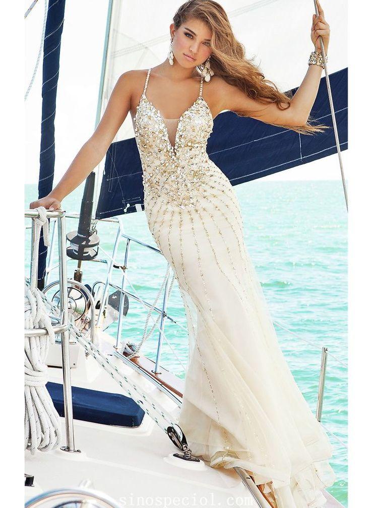 Charming Sheath/Column Spaghetti Straps Beadings Floor Length Chiffon Evening Dress