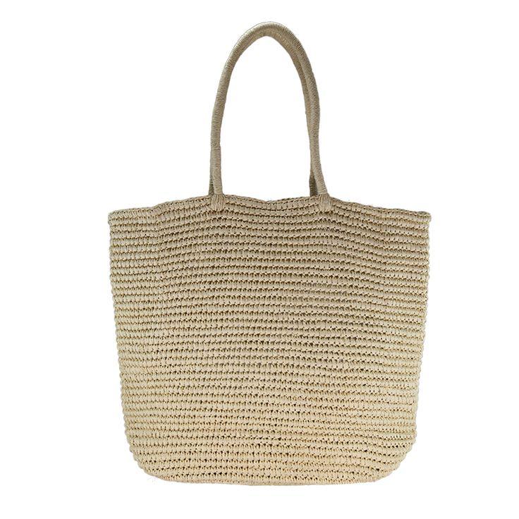 Beige straw crochet shoulder bag
