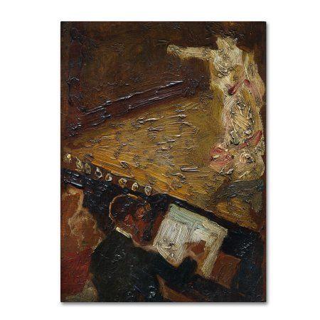 Trademark Fine Art 'Paris Nocturne The Singer' Canvas Art by Carlos Baca-Flor, Size: 14 x 19, Brown