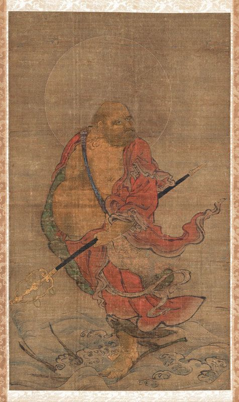 68 best zen painting images on pinterest zen painting japanese bodhidharma crossing the yangzi river on a reed painter unknown japanese nanbokucho period hanging scroll ink colors and gold on silk x cm sciox Gallery