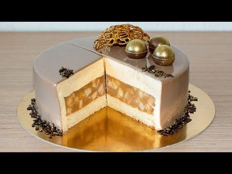 Муссовый торт Яблоки в карамели | Mousse Caramel Apple Cake Recipe - YouTube