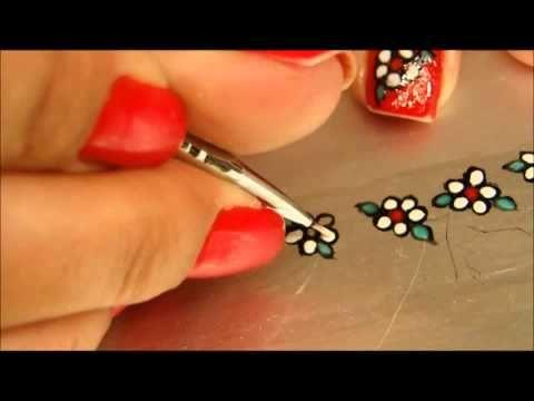 Decoração em unhas Flor!  Vídeo Passo a passo  Adesivo decorativo de Flor!  Cores de esmalte...  Vermelho  Verde  Preto  branco  Pincel e um palito..