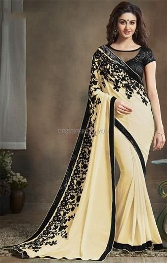 8b50044ef992e  Buy  Online Daily Wear Cream Colored Floral  Georgette  Saree Black Net  Blouse. This  Boutique  Style  Sari   Net Blouse Set Contains Short Sleeves    Sheer ...