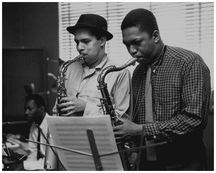 John Coltrane with Jackie Mclean, Recording Session The Dealers, April Van Gelder Studio, Hackensack, NJ 1957. Photo Esmond Edwards