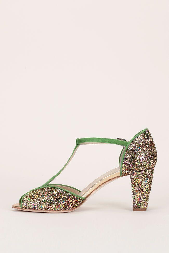 Sandales vertes ajourées à paillettes :: Anniel (PÉ 17)