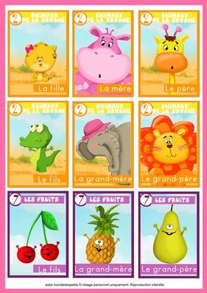Jeu de cartes des 7 familles pour les enfants