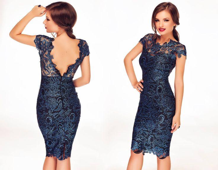 Midi lace dress in shades of electric blue, perfect for wedding. #lacedress #bluelacedress #bluelace #weddingdress