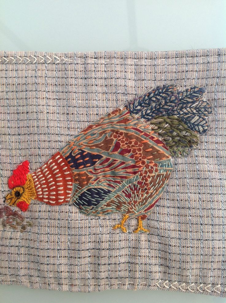 Chicken,handstitched applique using Liberty fabrics,by Debbie Irving 2014