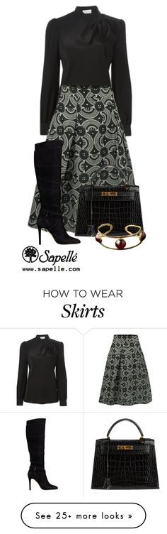 """""""How Would You Wear This Skirt? Look 5"""" by sapellestyle on Polyvore featuring RED Valentino, GUESS and Hermès"""