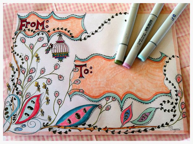 Hand-decorated mail art envelope by Born 2 b Creative