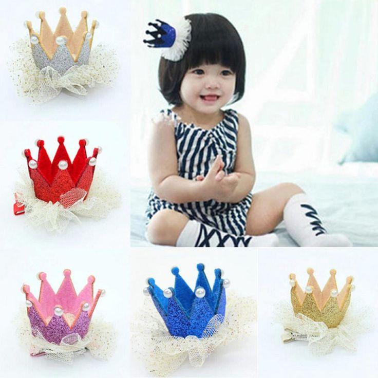 2016 Hot Cute Newborn Baby Kids Girls Lace Crown Pearl Princess Hairpin Hair Clip Headdress Birthday Christmas Hair Accessories