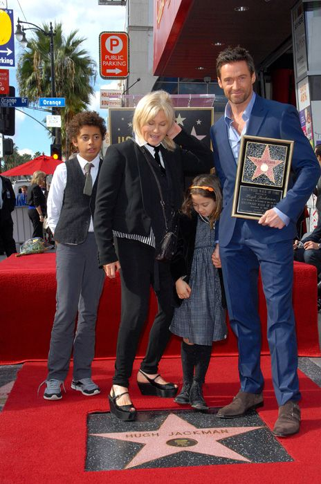 Hugh Jackman and his proud family celebrating his Hollywood star