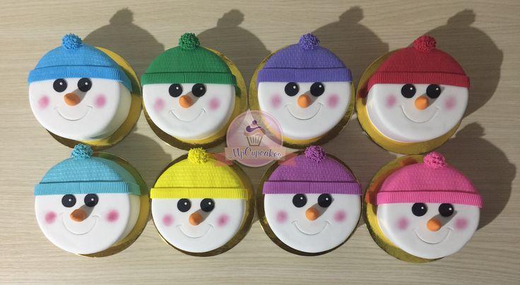 Mini tortas de navidad. Muñecos de nieve