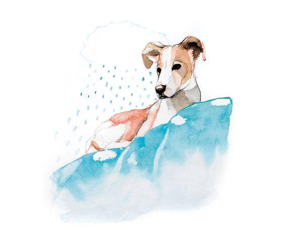 Printable wall art painting/ dog portrait/ by WatercolorprintByOli