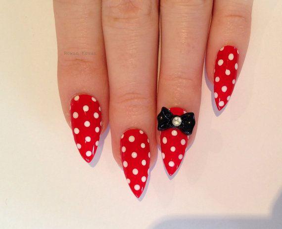 Red Bow Stiletto nails Nail designs Nail art Nails by Rowaan96, £14.99