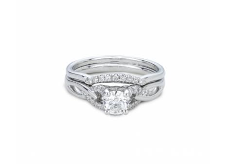 Possess a true Canadian treasure with this Victor Diamond 18k Palladium & White Gold Canadian Victor Diamond .61ctw Bridal Ring in SI quality with matching non-Canadian Palladium & White Gold .07ctw wedding band