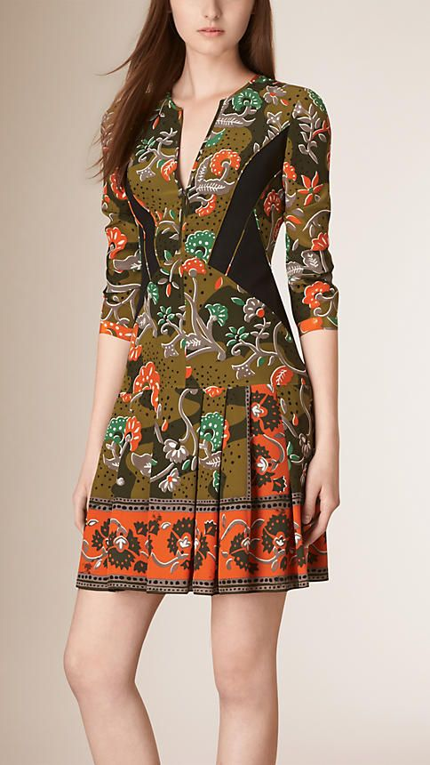 Antique green Floral Print Silk Dress - Burberry Prorsum