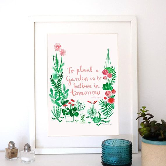 A4 Giclee Art Print: 'To Plant A Garden' Audrey Hepburn Quote illustrated by Stephanie Cole Design 2017