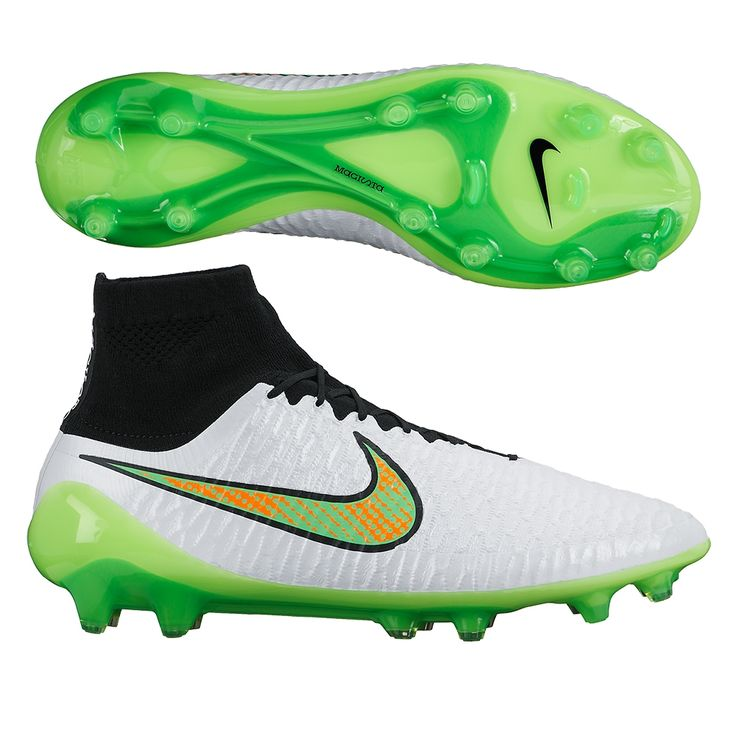 Nike Magista Obra FG Soccer Cleats (White/Black/Total Orange/Poison Green). Get your new pair of soccer boots today at SoccerCorner.com!