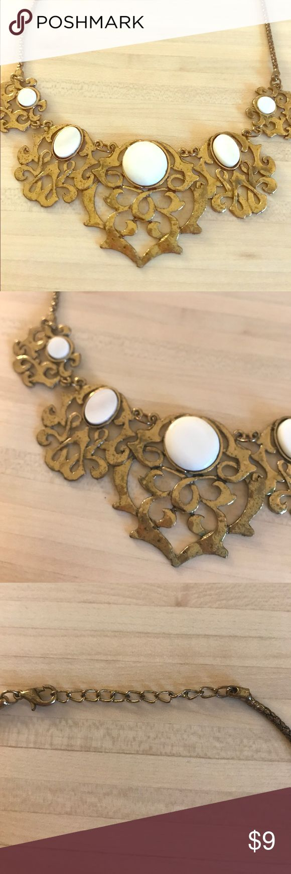 Gold & Opal necklace ~Francesca's collection~ Gold bib necklace *costume jewelry* with iridescent white stones. Make me an offer! Francesca's Collections Jewelry Necklaces