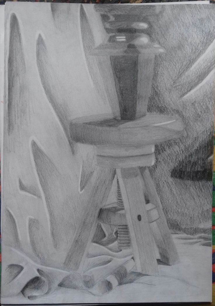 Ah, good  ol' times when we had to draw that hellish stool and the leg of a piano with a cloth in the background. How I don't miss them... Anyway. It's on A/3 white paper, done with only graphite pencil; photo taken with my phone, as usual.