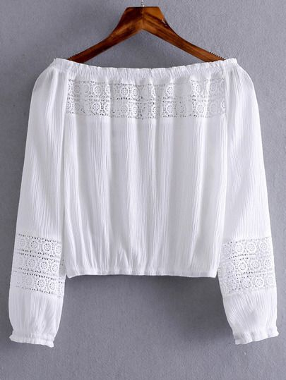 Shop White Boat Neck Elastic Cuff Crochet Blouse online. SheIn offers White Boat Neck Elastic Cuff Crochet Blouse & more to fit your fashionable needs.