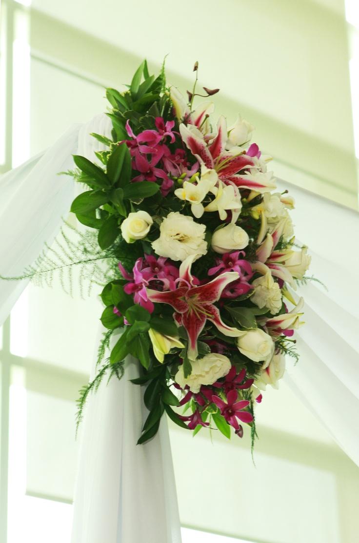 flowers on chuppah