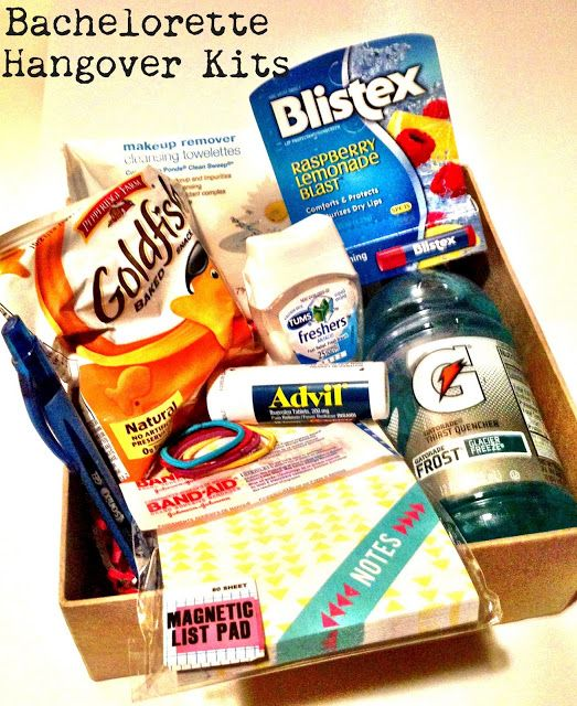 Bachelorette Party Favor: Hangover Kits - Gatorade, Advil, Tums, hair ties, Goldfish crackers (Saltines?), notepad, make-up remover pkt, Chapstick, band aids