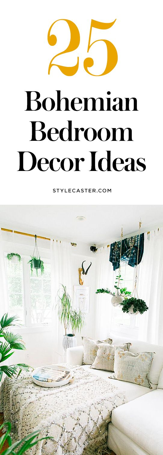 25 Bohemian Bedroom Decor Ideas — these modern boho bedrooms are filled with gorgeous tapestries, colorful + textured bedding, beautiful Morrocan rugs, and unique wall art ideas.