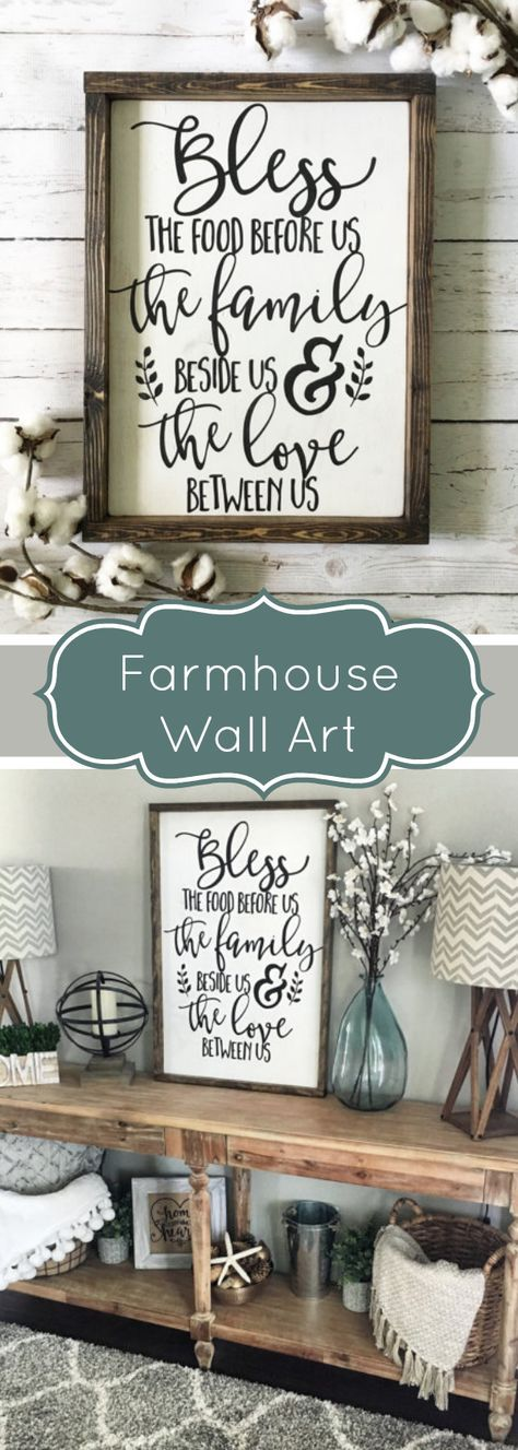 Love this farmhouse style sign. Bless the food before us, the family beside us, and the love between | farmhouse | home decor | rustic | #afflink