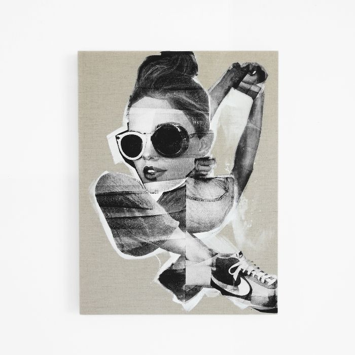 black and white screen print collage on linen / erin flannery [erinart.net]