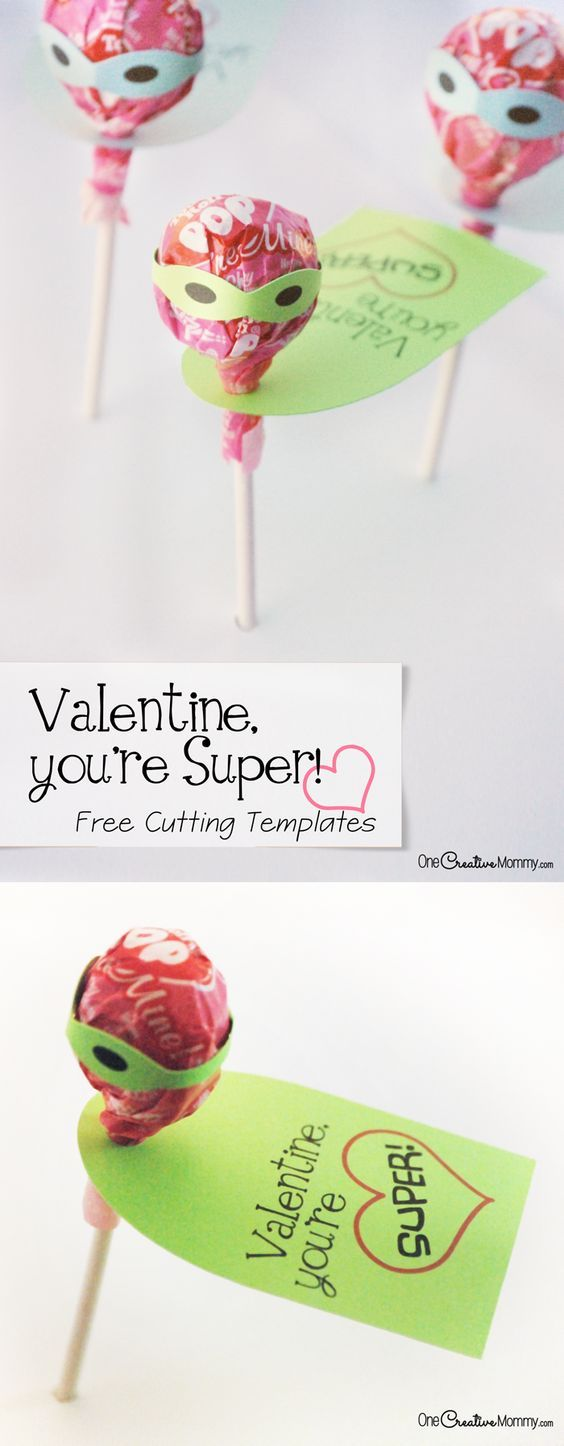 Any kid will be the talk of the class with these super cool Tootsie Pop Valentines {Printable and Silhouette Cutting File from OneCreativeMommy.com} Valentine, You're Super!