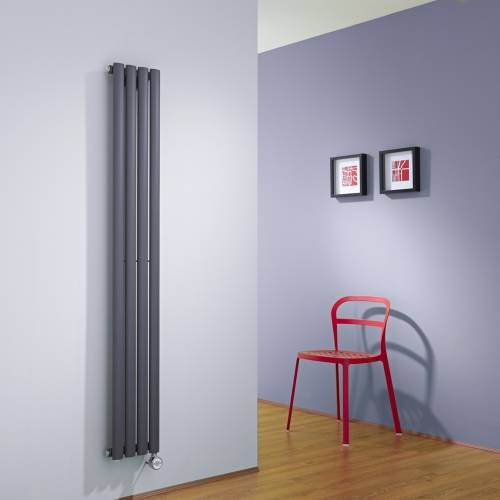 Hudson Reed Radiateur électrique vertical Vitality compact anthracite 1600mm x 236mm - 652 watts